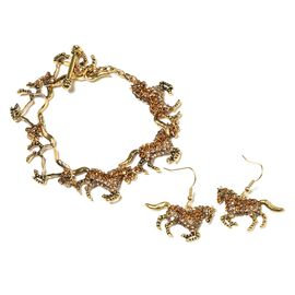 Brown and Champagne Colour Austrian Crystal (Rnd) Horse Bracelet (Size 7-9) and Hook Earrings in Yel