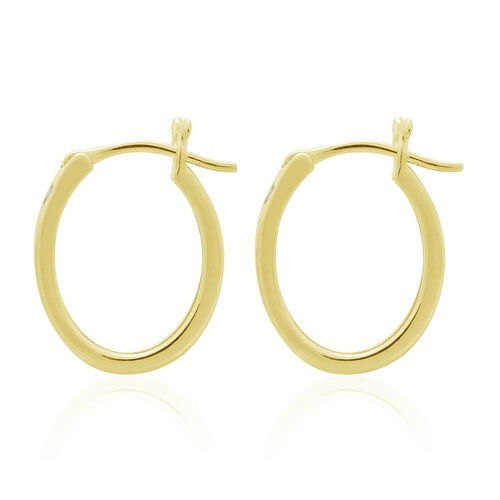 Diamond (Bgt) Hoop Earrings in 14K Gold Overlay Sterling Silver (with Clasp) 0.250 Ct.