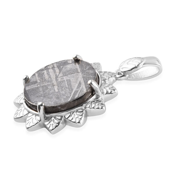 Tucson Special - Meteorite (Rnd) Floral Pendant in Platinum Overlay Sterling Silver 7.86 Ct.