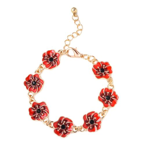 TJC Poppy Design Red and Black Poppy Flower Bracelet in Gold Tone Size 7 with 1 Inch Extender