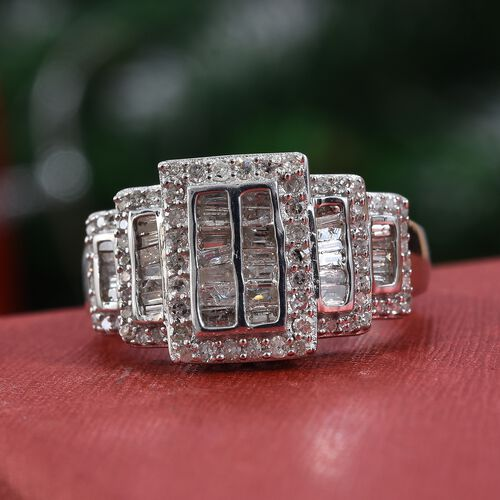 Diamond (Rnd and Bgt) Ring in Platinum Overlay Sterling Silver 0.75 Ct.