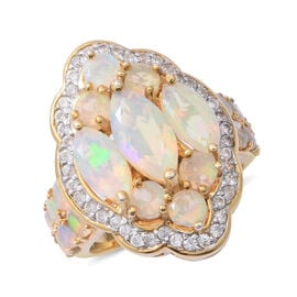 Ethiopian Welo Opal (Mrq 1.020 Ct), Natural White Cambodian Zircon Cluster Ring in Platinum Overlay and Yellow Gold Sterling Silver 4.700 Ct, Silver wt 9.60 Gms.