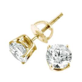 ILIANA 18K Yellow Gold AGI Certified Diamond (Rnd) (SI/G-H) Stud Earrings (with Screw Back) 0.500 Ct