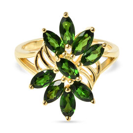 Russian Diopside Ring in Yellow Gold Overlay Sterling Silver 2.25 Ct.