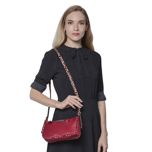 Designer Inspired - Magenta Colour  Bag with Leopard Pattern Shoulder Strap
