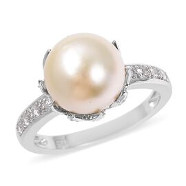 Golden South Sea Pearl (Rnd 9-10 mm), Natural White Cambodian Zircon Ring in Rhodium Overlay Sterlin