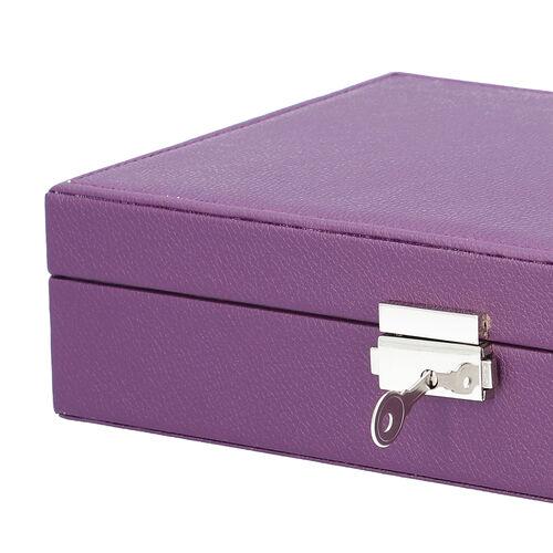 Multi Compartment Jewellery Box in Purple (28x18.5x6.5cm)