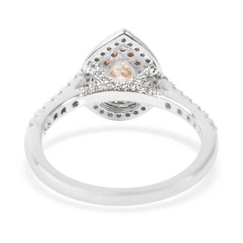 NY Closeout- 14K White Gold GSI Certified White Diamond (SI-I1), Natural Pink Diamond Ring 1.00 Ct.