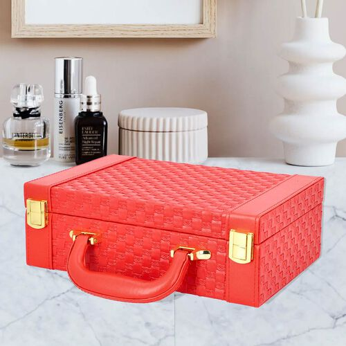 Red Colour Woven Pattern Briefcase Design Double Layer Jewellery Box with Mirror Inside (Size 27.5X18.5X9 Cm)