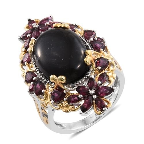 Shungite (Ovl 9.50 Ct), Rhodolite Garnet Ring in Platinum and Yellow Gold Overlay Sterling Silver 13.500 Ct. Silver wt 9.10 Gms.
