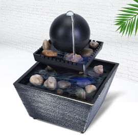 Super Find - Mini Water Fountain with LED Light - Black (Size - 11.5x11.5x17cm)