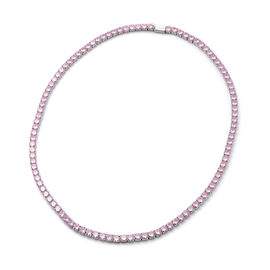 Christmas Special Deal-  Simulated Pink Sapphire Tennis Necklace (Size 18) in Silver Tone