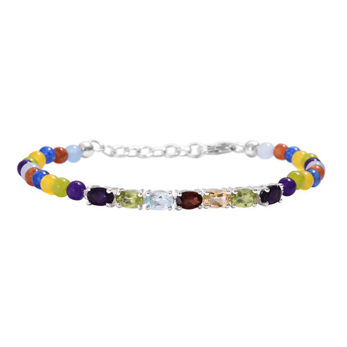 Multi Gemstone and Multi Colour Agate Bracelet (Size 7.5) in Sterling Silver 17.750 Ct.