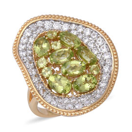 Designer Inspired- Hebei Peridot (Ovl), Natural Cambodian White Zircon Ring in Two Tone Plating Ster