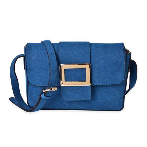 Deep Blue Crossbody Bag with Adjustable Shoulder Strap (Size 24x17.5x7 Cm)