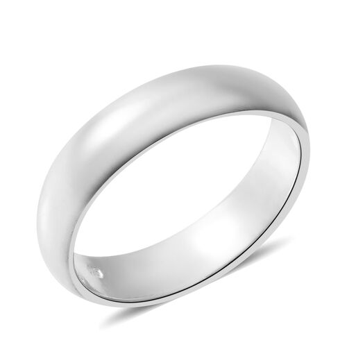 One Time Deal-Rhodium Plated Sterling Silver Band Ring.Silver Wt 4.68 Gms