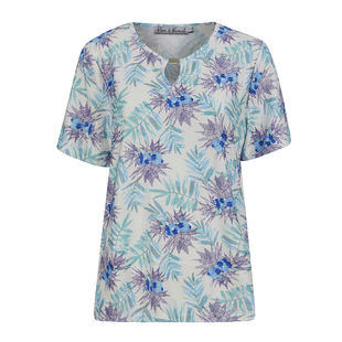 TJC ESSENTIALS Leaves Embossed Pattern Soft & Comfy Top with Round Neckline and Long Sleeves- White & Multi