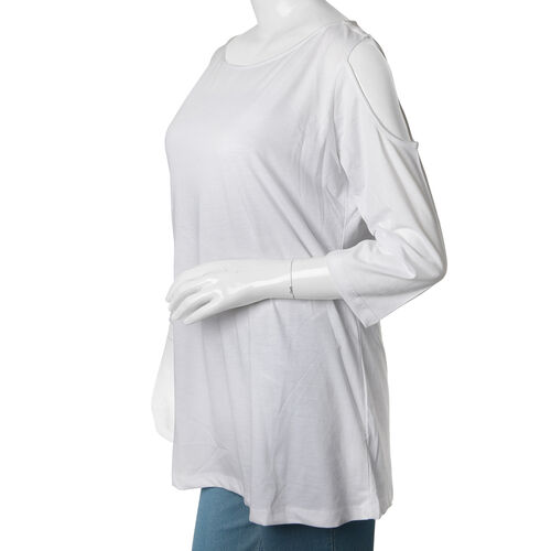New for Season - 100% Cotton White Colour Cutout Shoulder Top (Size 75X50 Cm)