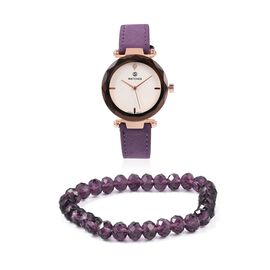 2 Piece Set - STRADA Japanese Movement Austrian Crystal Studded Water Resistant Watch with Stretchable Purple Beads Bracelet (Size 6.75)