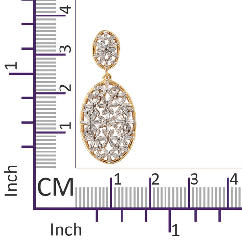 Diamond (Bgt) Dangle Earrings (with Push Back) in 14K Gold Overlay Sterling Silver 1.050 Ct