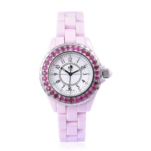 EON 1962 Swiss Movement with African Ruby (3.11 Ct) Pink HighTech Ceramic Watch (No of Stones 31 Pcs)
