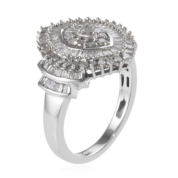Diamond (Rnd and Bgt) Cluster Ring in Platinum Overlay Sterling Silver 1.00 Ct.