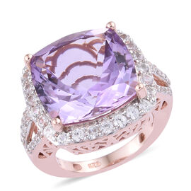 Rose De France Amethyst (Cush 15x15 mm), Natural Cambodian Zircon Ring in Rose Gold Overlay Sterling