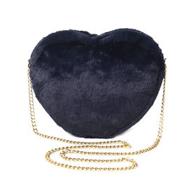 Navy Faux Fur Heart-Shaped Crossbody Bag with Chain Shoulder Strap in Gold Tone