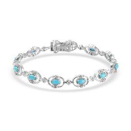 Arizona Sleeping Beauty Turquoise and Natural Cambodian Zircon Bracelet (Size 7) in Platinum Overlay