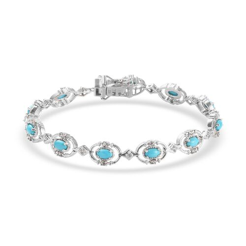 Arizona Sleeping Beauty Turquoise and Natural Cambodian Zircon Bracelet (Size 7) in Platinum Overlay