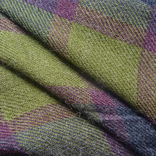 Purple and Green Colour Checks Scarf (Size 180x70 Cm)
