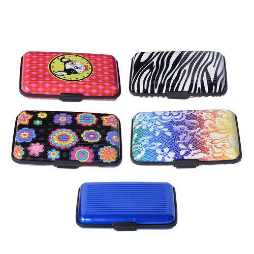 5 Pcs Set -  RFID Blocking Card Holder (Size 11x7x2 Cm) - Blue, Black and Multi Colour