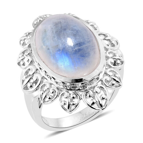 Rare Size Sri Lankan Rainbow Moonstone (Ovl) Art Deco Ring in Platinum Overlay Sterling Silver 13.000 Ct. Silver wt 7.89 Gms.