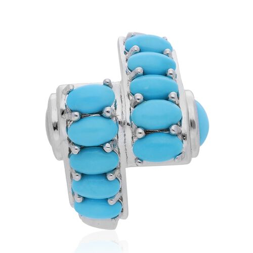 Tucson Close Out-Arizona Sleeping Beauty Turquoise (Ovl and Rnd) Bypass Ring in Rhodium Overlay Sterling Silver 2.90 Ct, Silver wt 5.40 Gms