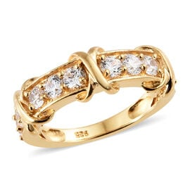 J Francis - 14K Gold Overlay Sterling Silver (Rnd) Knot Ring Made With SWAROVSKI ZIRCONIA