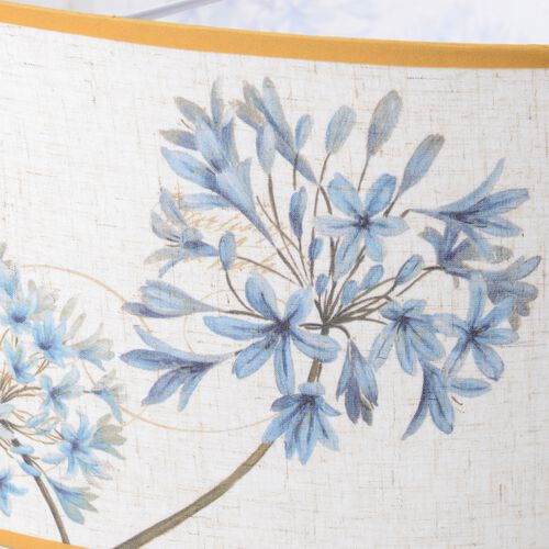 Linen Look Floral Printed Ceiling Lamp Shade with Gold Rim (50 cm Diameter) Blue Flower