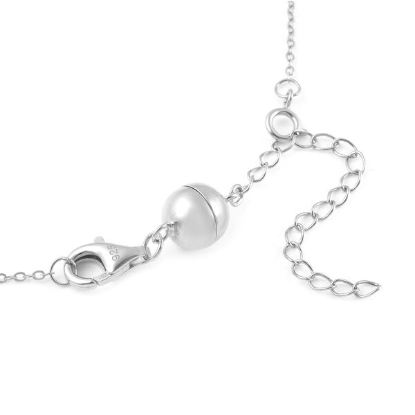 Rhodium Overlay Sterling Silver Magnetic Lock (Size 8 mm) with Lobster Clasp (Size 11 mm)