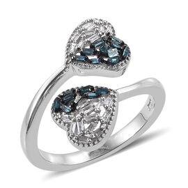 Blue and White Diamond (Bgt) Heart Bypass Ring in Platinum Overlay Sterling Silver 0.200 Ct.