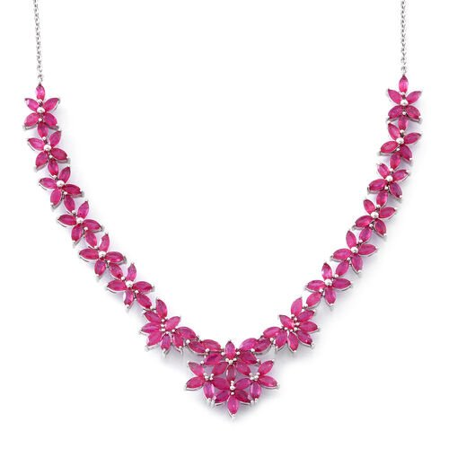 African Ruby (Mrq) Necklace (Size 18) in Rhodium Plated Sterling Silver 14.750 Ct., Silver wt 19.00 Gms.