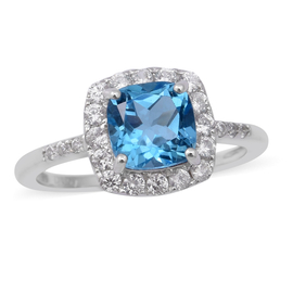 Swiss Blue Topaz and Natural Cambodian Zircon Ring in Rhodium Overlay Sterling Silver 2.47 Ct.