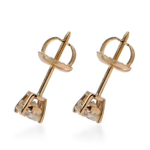 NY Closeout Deal-14K Yellow Gold Diamond (I1-I2) Stud Earrings (with Screw Back) 0.50 Ct.