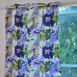 Blue, Green and Multi Colour Floral Printed Double Side Curtain (Size 230X167 Cm)