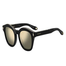 GIVENCHY Womens Square Black Sunglasses with Mirror Lenses Pearl Studded Top