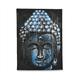 Balinese - Buddha Canvas Hand Pinted Oil Painting Artworks (Size 40x30 Cm) - Blue