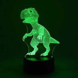 3D Optical Illusion Colour Changing Lamp with USB Cable - Globe (Size 17.6x14.1 Cm) - Dinosaur