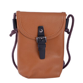 lifestyle-Color:Tan; size/Profile:middle size:crossbody bag;wall(exterior);Genuine Leather. Lining(interior):polyester  Pockets(exterior):button-1;Pockets(interior):none.Measurement(inch):13