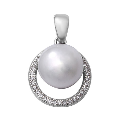 Freshwater Pearl and Simulated Diamond Pendant in Rhodium Overlay Sterling Silver