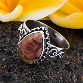Royal Bali Collection - Peanut Wood Jasper Ring in Sterling Silver 4.38 Ct, Silver wt 3.20 Gms