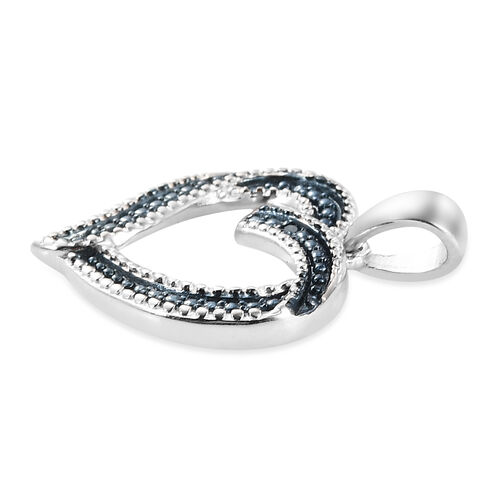 Blue Diamond Open Heart Pendant in Platinum Overlay Sterling Silver Heart