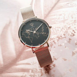 Neptune Carte du Monde Black/Rose Gold Mesh Watch